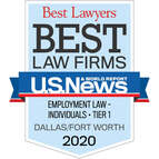 Logo for Tanner & Associates, P.C., Best Lawyers recognition as Tier One in Employment Law, Individual, by U.S. News