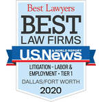 Logo for Tanner & Associates, P.C., Best Law Firms recognition as Tier One in Litigation, Labor & Employment, by U.S. News
